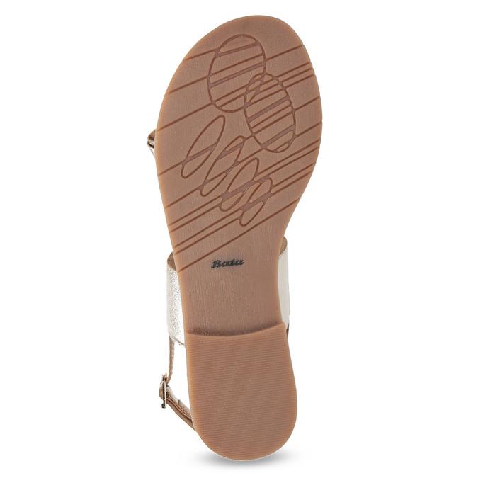 Złote skórzane sandały zperełkami bata, złoty, 566-8632 - 18