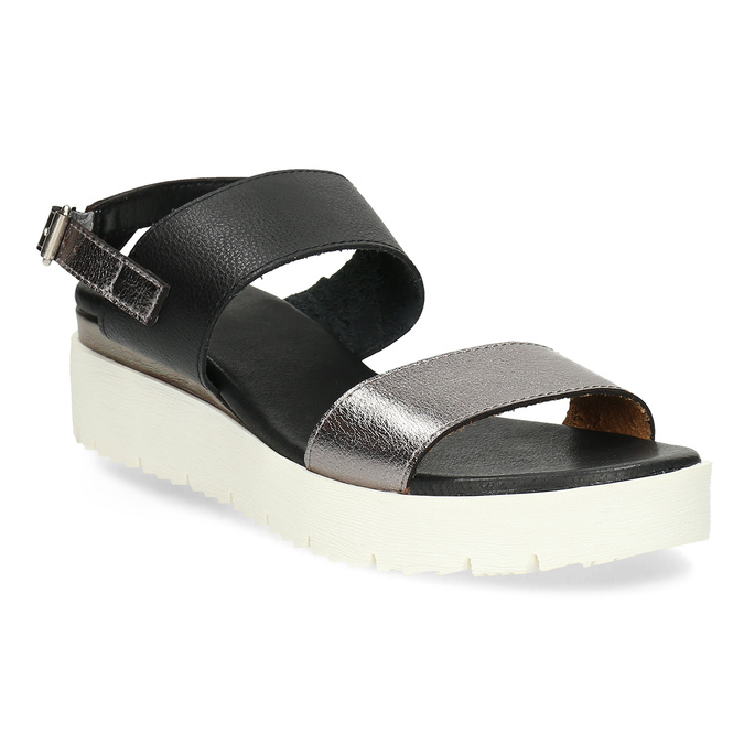 Czarno-srebrne sandały damskie na platformie bata, czarny, 661-6614 - 13