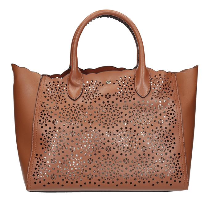Brązowa torebka damska zperforowanym wzorem bata, brązowy, 961-3265 - 26