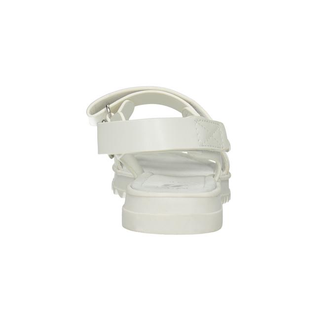 Białe sandały dziewczęce na podeszwie zbieżnikiem mini-b, biały, 361-1613 - 15