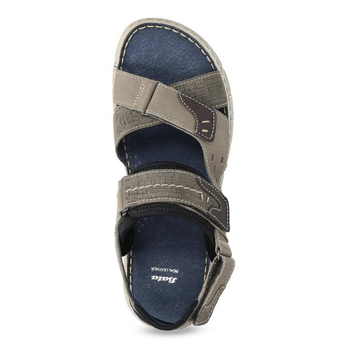 Szare skórzane sandały na rzepy bata, szary, 866-4640 - 17
