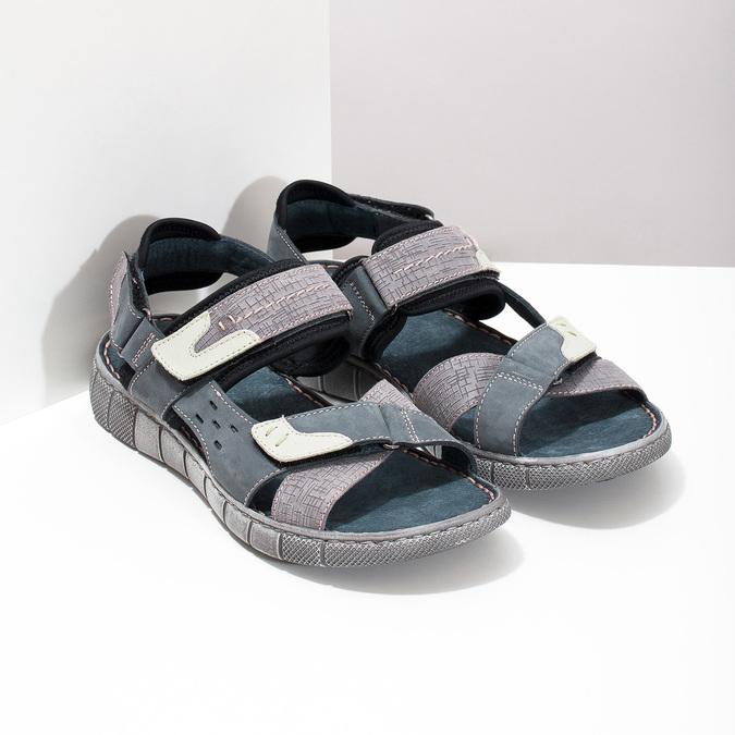 Granatowe skórzane sandały męskie na rzepy bata, szary, 866-9640 - 26