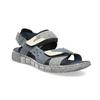 Granatowe skórzane sandały męskie na rzepy bata, szary, 866-9640 - 13
