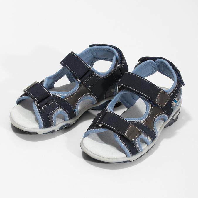 Granatowe sandały chłopięce zzapięciami na rzepy mini-b, niebieski, 261-9608 - 16
