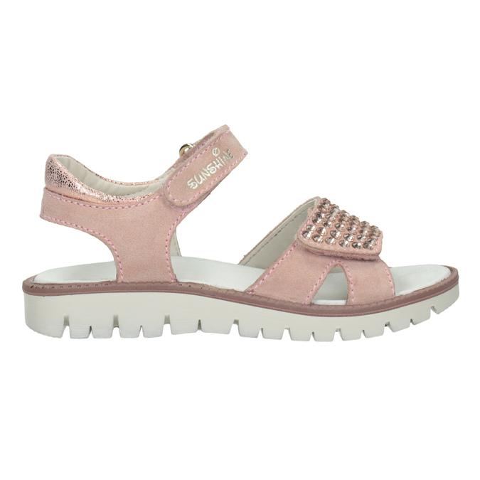 Różowe skórzane sandały dziewczęce zkryształkami mini-b, różowy, 463-5603 - 16