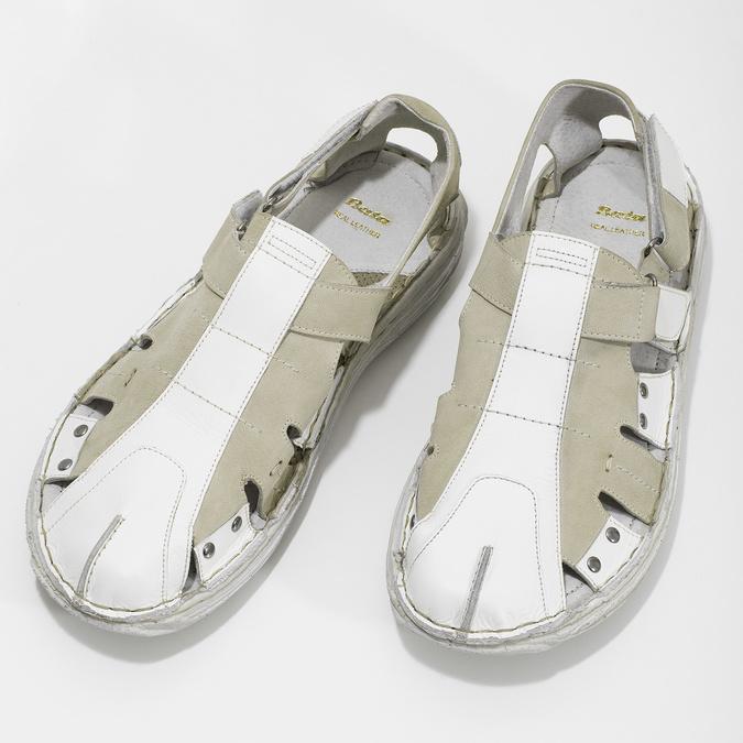 Jasne skórzane sandały męskie bata, biały, 866-1622 - 16