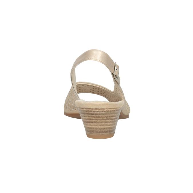 Beżowe skórzane sandały oszerokościH, zkryształkami gabor, beżowy, 663-8019 - 16