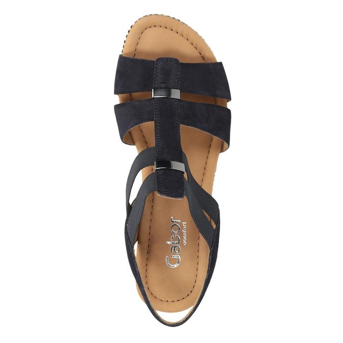 Granatowe skórzane sandały na koturnach gabor, niebieski, 763-9013 - 15