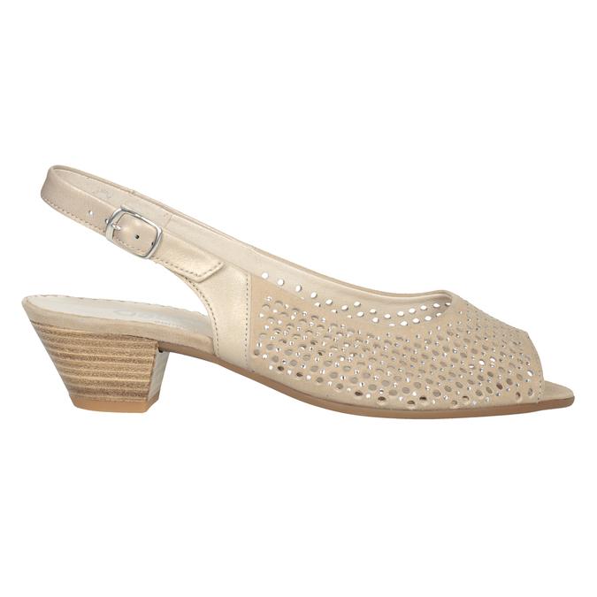 Beżowe skórzane sandały oszerokościH, zkryształkami gabor, beżowy, 663-8019 - 26
