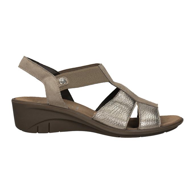 Skórzane sandały na koturnach comfit, brąz, 666-8620 - 16
