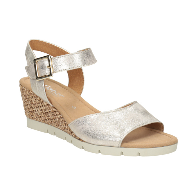 Srebrne skórzane sandały na koturnach gabor, srebrny, 766-5015 - 13