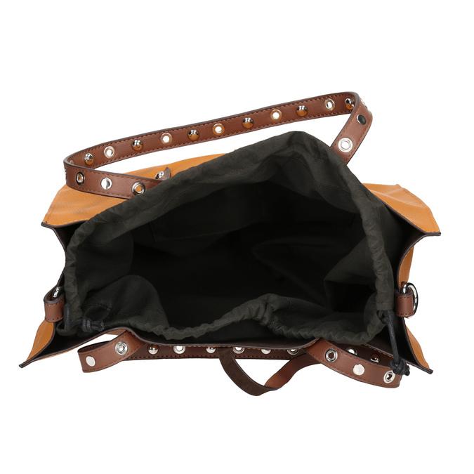 Pomarańczowa torebka wstylu shopper zćwiekami bata, brązowy, 961-3296 - 15