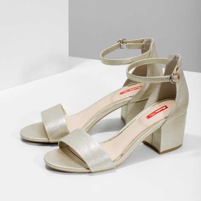 Złote sandały damskie na obcasach, złoty, 661-8609 - 16
