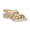 Beżowe skórzane sandały damskie na rzepy, beżowy, 566-8634 - 13
