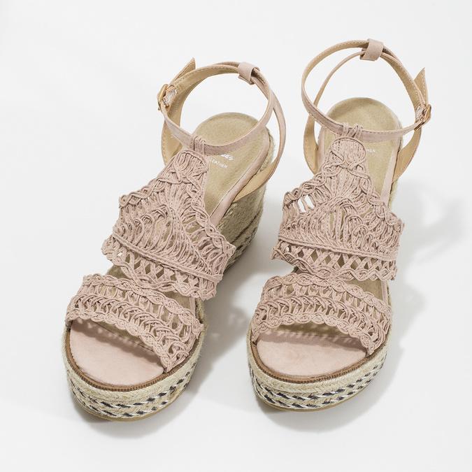Wyplatane sandały na platformie bata, różowy, 759-8633 - 16