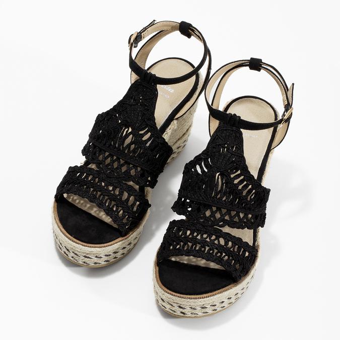 Czarne wyplatane sandały na platformie bata, czarny, 759-6633 - 16