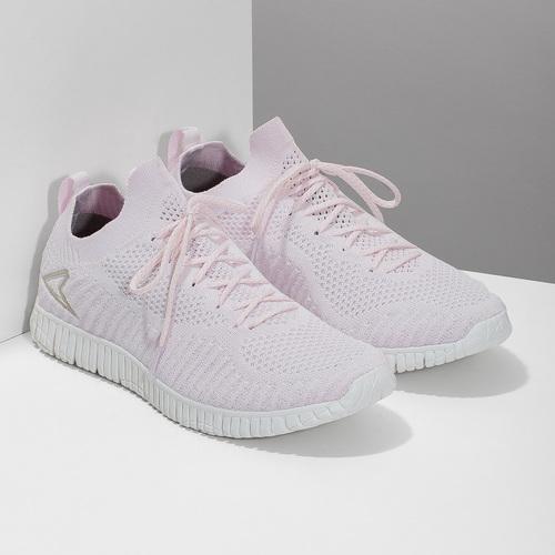 Różowe dzianinowe trampki damskie power, różowy, 509-0211 - 26