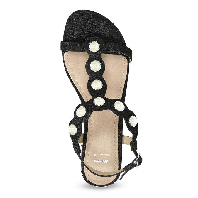 Czarne sandały zperełkami bata, czarny, 569-6606 - 17
