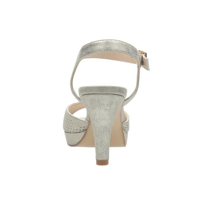 Srebrne perforowane sandały damskie na obcasach insolia, srebrny, 761-8618 - 15