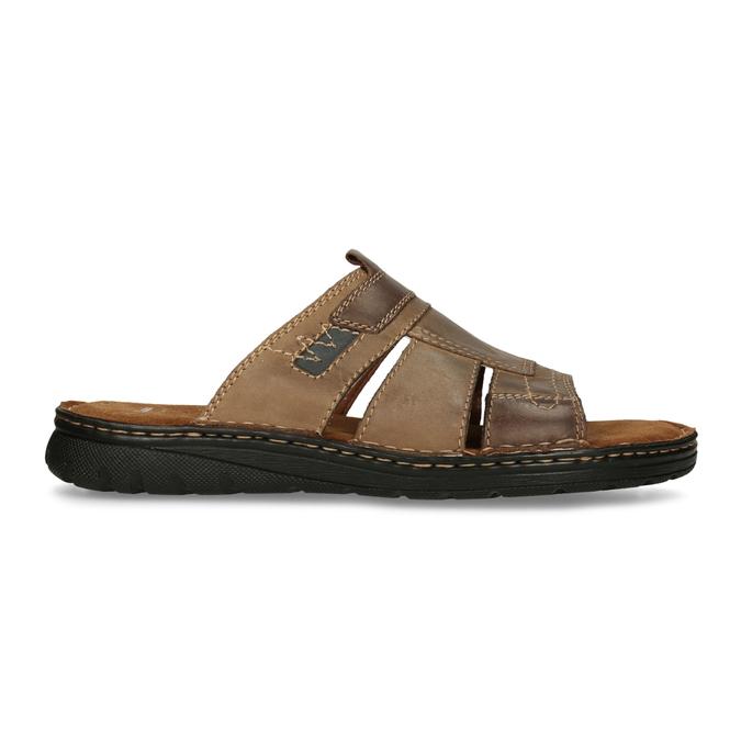 Skórzane klapki męskie zprzeszyciami bata, brązowy, 866-4615 - 19