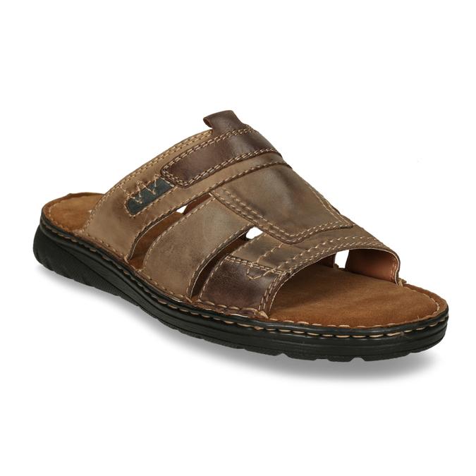 Skórzane klapki męskie zprzeszyciami bata, brązowy, 866-4615 - 13