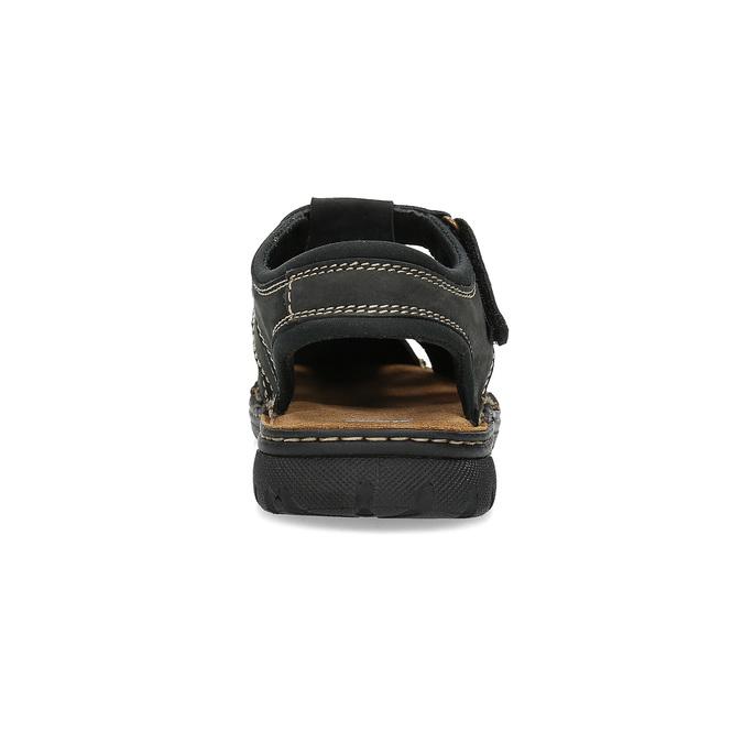 Czarne skórzane sandały męskie zpełnymi noskami bata, czarny, 866-6616 - 15
