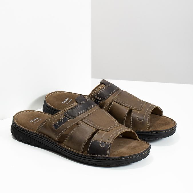 Skórzane klapki męskie zprzeszyciami bata, brązowy, 866-4615 - 16
