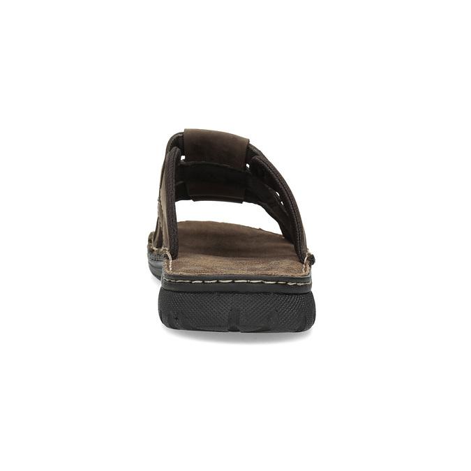 Brązowe skórzane klapki męskie bata, brązowy, 876-4600 - 15