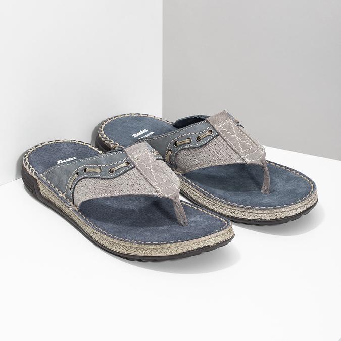 Skórzane japonki męskie zprzeszyciami bata, szary, 866-9845 - 26