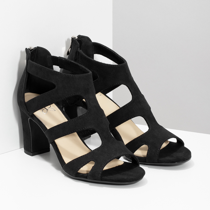 Czarne sandały na stabilnych obcasach insolia, czarny, 769-6617 - 26