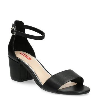 Czarne sandały na obcasach, czarny, 661-6609 - 13
