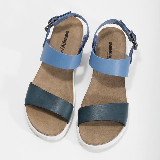 Niebieskie skórzane sandały damskie weinbrenner, niebieski, 566-9643 - 16
