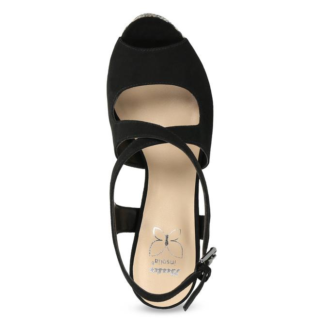 Czarne sandały damskie na wzorzystych koturnach insolia, czarny, 769-6622 - 17