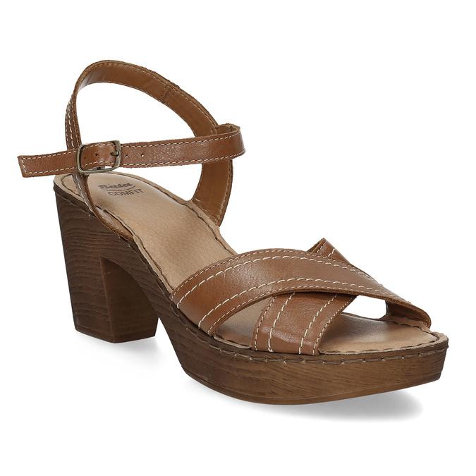 Brązowe skórzane sandały na drewnianych obcasach comfit, brązowy, 666-4624 - 13