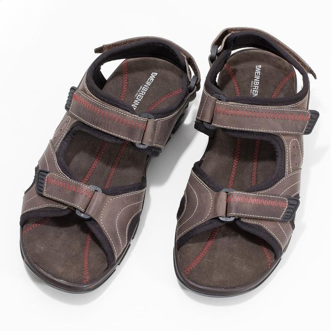 Brązowe skórzane sandały męskie na rzepy weinbrenner, brązowy, 866-4635 - 16