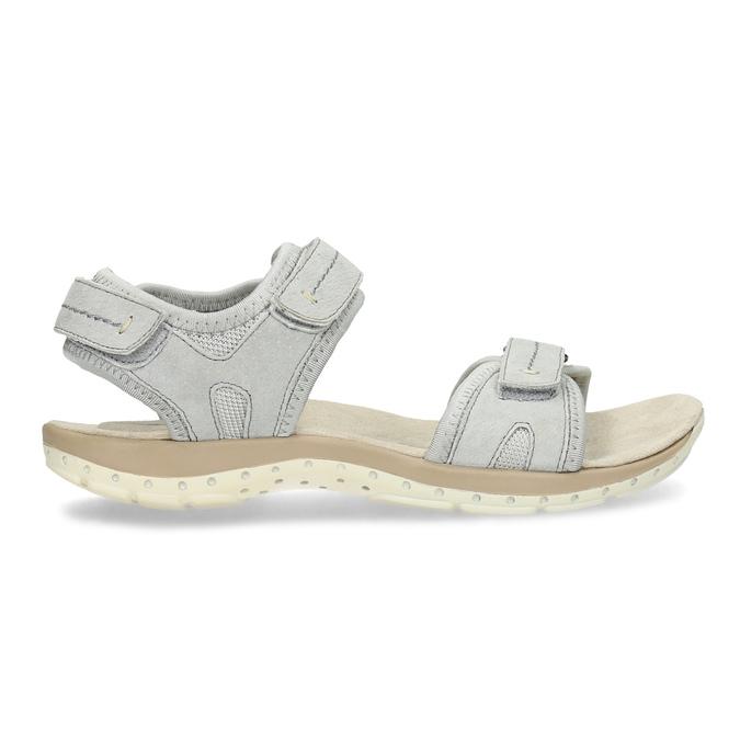 Skórzane sandały damskie na rzepy weinbrenner, szary, 566-2608 - 19