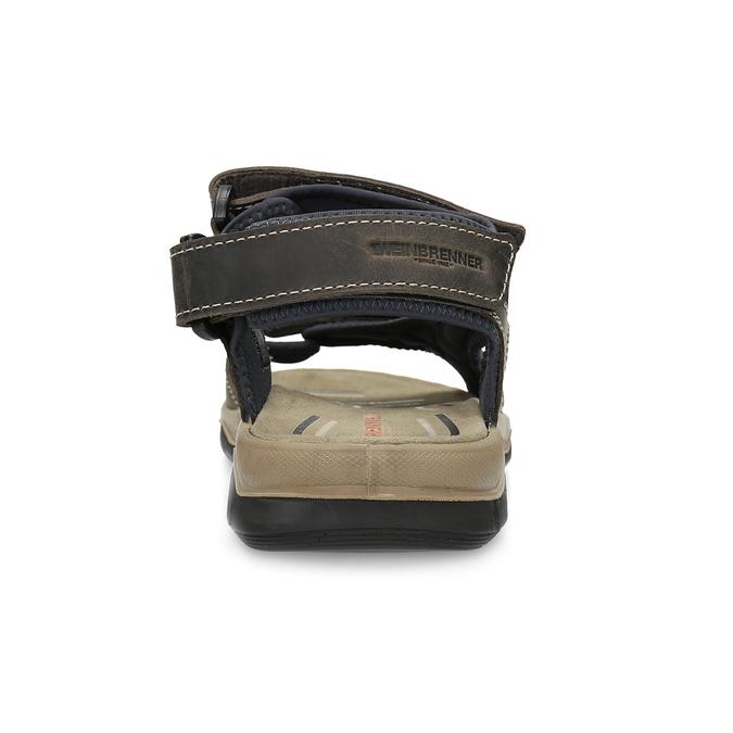 Brązowe skórzane sandały na rzepy weinbrenner, brązowy, 866-4642 - 15