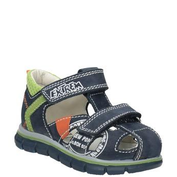 Skórzane sandały chłopięce znadrukiem mini-b, niebieski, 166-9604 - 13