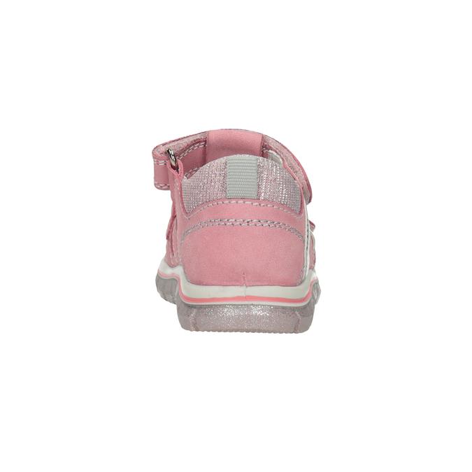 Skórzane sandały dziewczęce znadrukiem mini-b, różowy, 166-5604 - 15