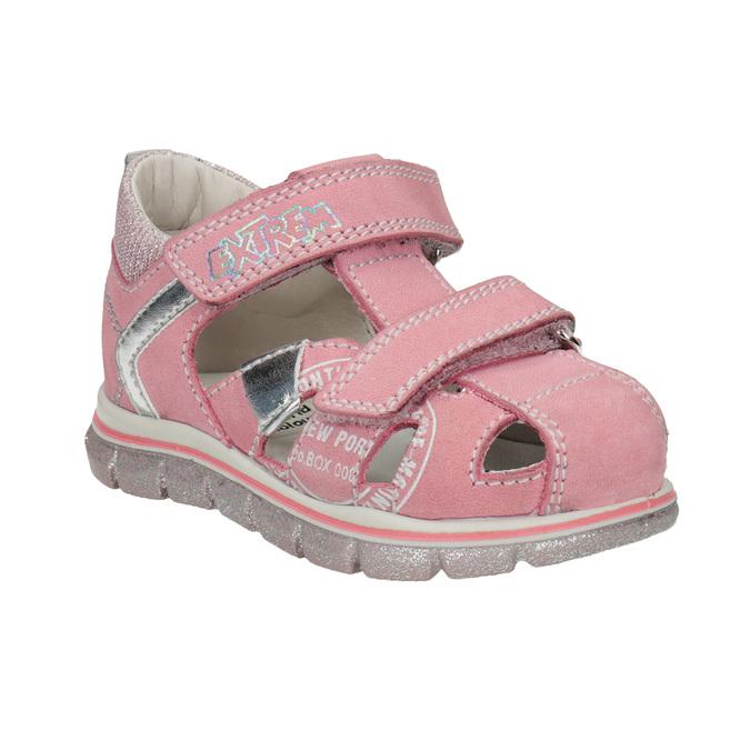 Skórzane sandały dziewczęce znadrukiem mini-b, różowy, 166-5604 - 13