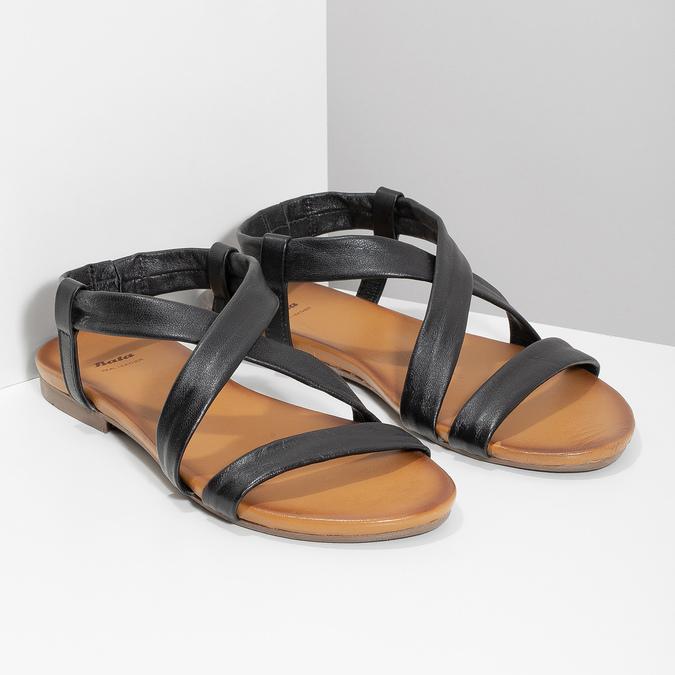 Czarne skórzane sandały damskie bata, czarny, 566-6635 - 26