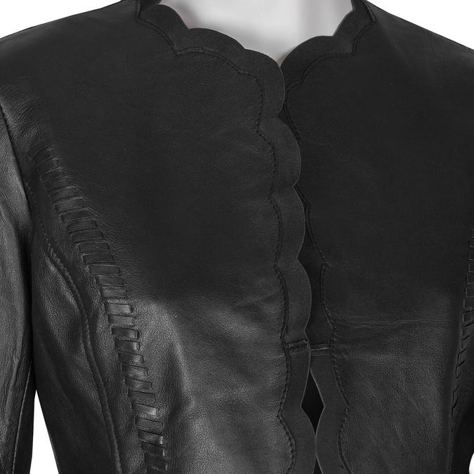 Czarny skórzany żakiet damski bata, czarny, 974-6179 - 16