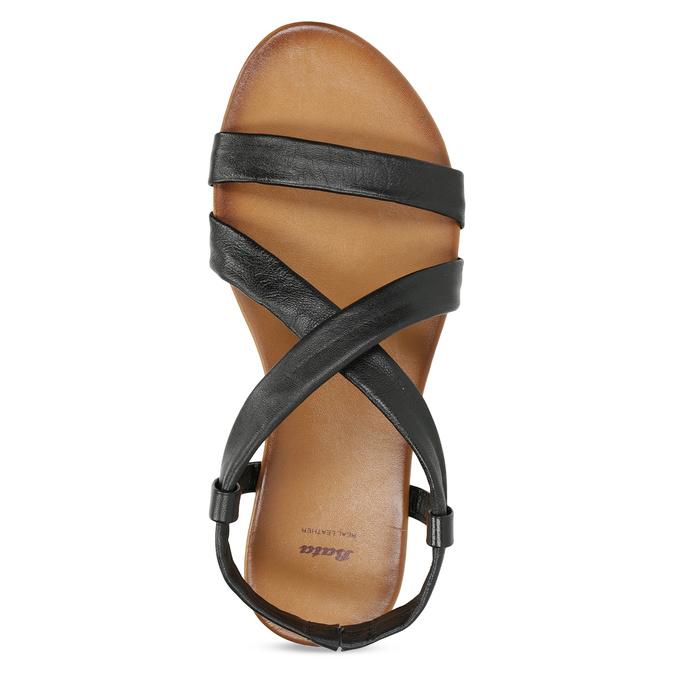 Czarne skórzane sandały damskie bata, czarny, 566-6635 - 17