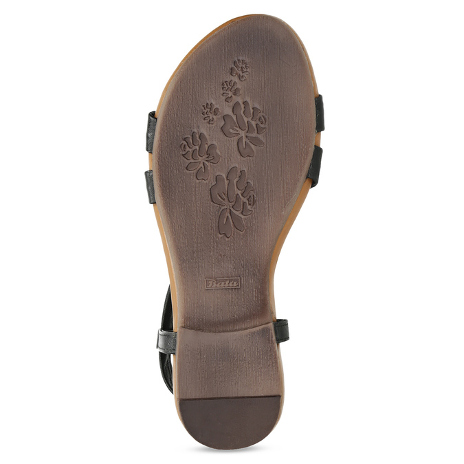 Czarne skórzane sandały damskie bata, czarny, 566-6635 - 18