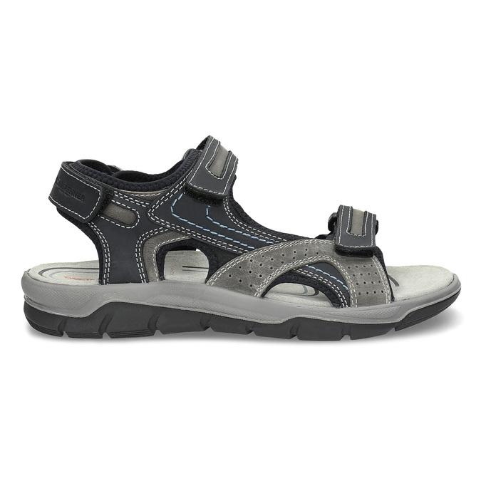 Skórzane sandały męskie na rzepy weinbrenner, szary, 866-2642 - 19