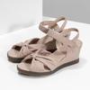 Beżowe skórzane sandały na koturnach flexible, beżowy, 666-5617 - 16