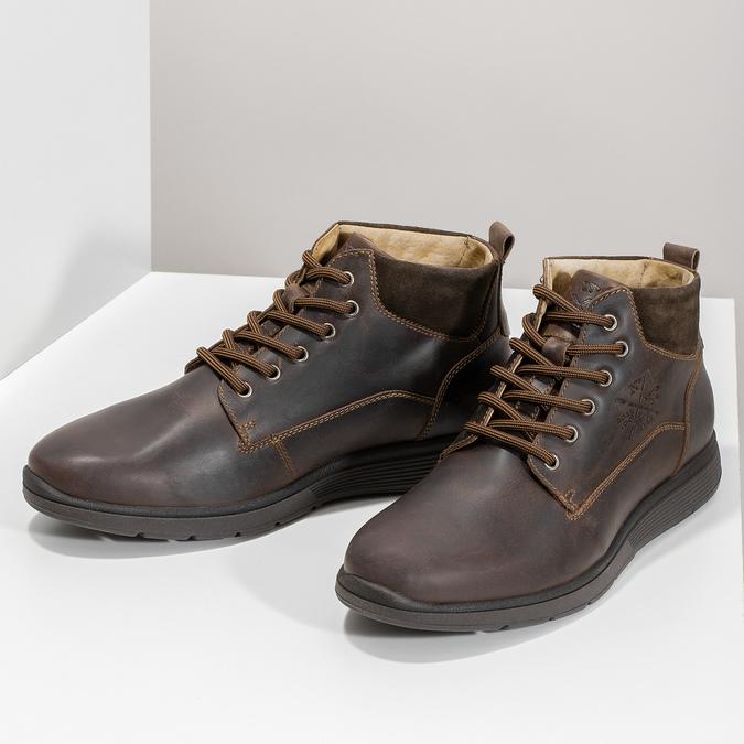 Skórzane obuwie męskie za kostkę, zprzeszyciami bata, brązowy, 846-4645 - 16