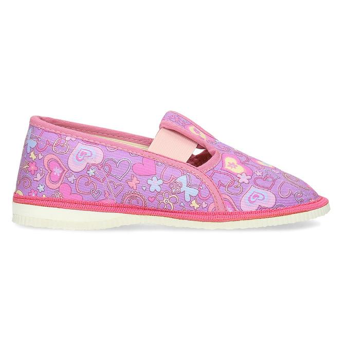Różowe wzorzyste kapcie dziecięce bata, różowy, 279-5129 - 19