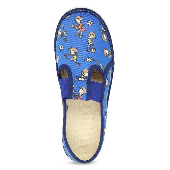 Granatowe wzorzyste kapcie dziecięce bata, niebieski, 179-9213 - 17