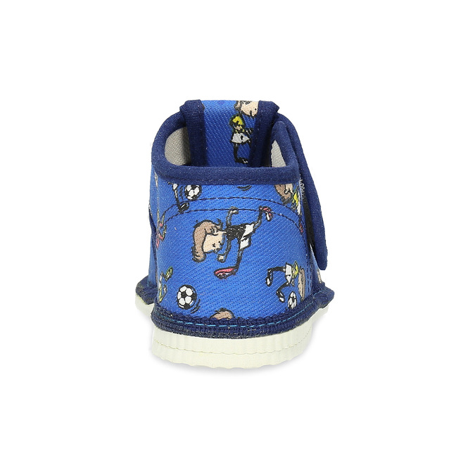 Granatowe wzorzyste kapcie dziecięce za kostkę bata, niebieski, 179-9212 - 15